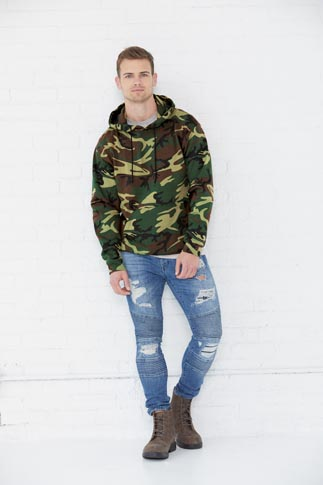 Code Five Men's 7.5 Ounce Camo Pullover Fleece Hoodie